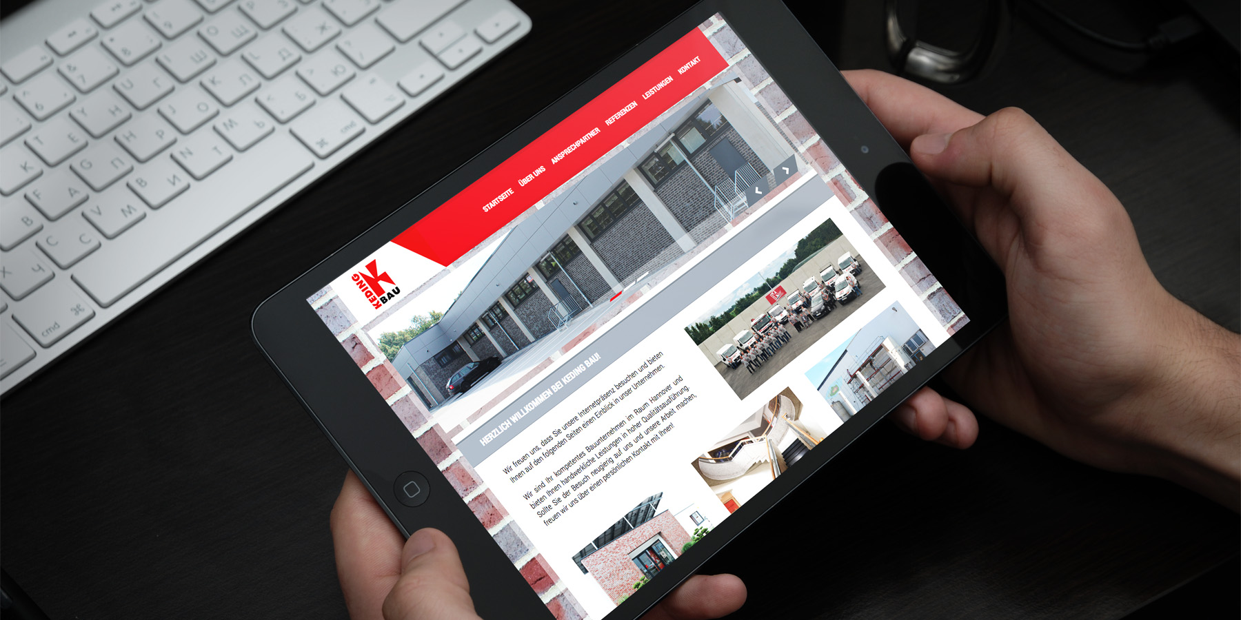 KEDING BAU Website in der Tabletansicht